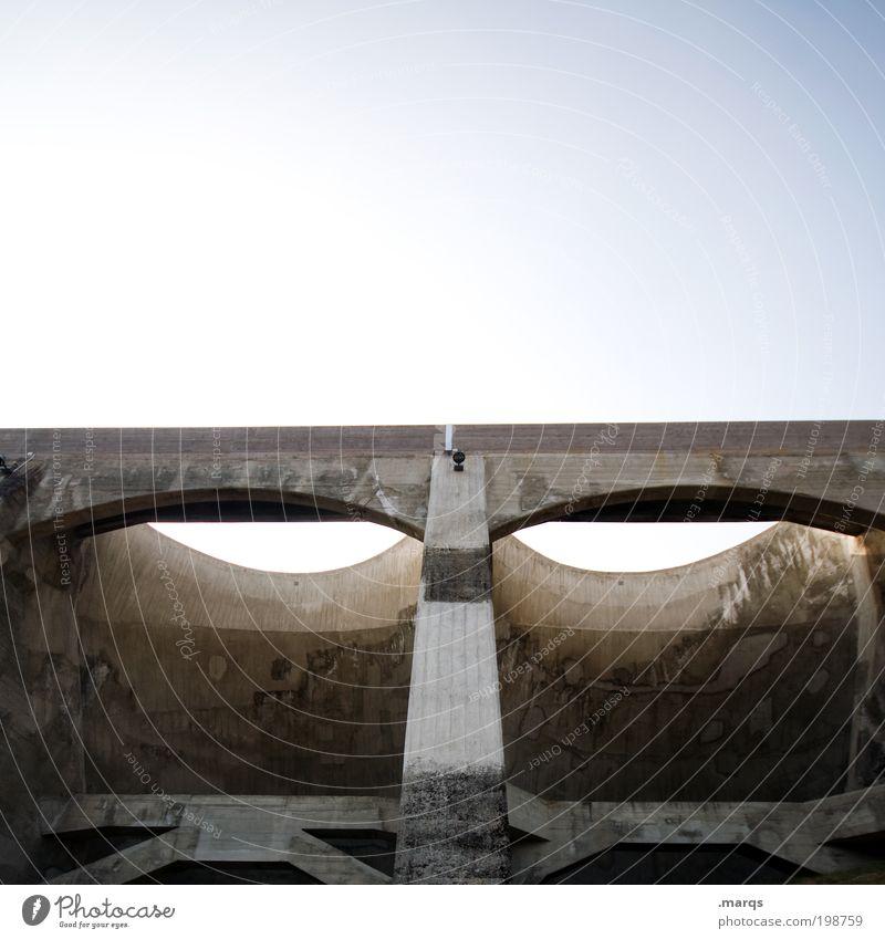 Von oben herab Industrie Baustelle Auge Wolkenloser Himmel Brücke Bauwerk Architektur Staumauer Beton bauen leuchten Blick außergewöhnlich groß verrückt Angst
