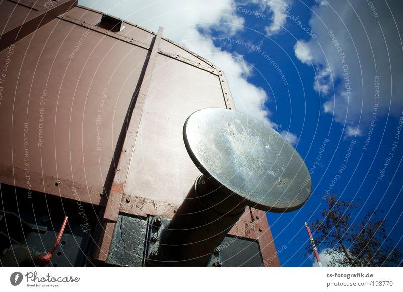 Pufferzone Himmel schwarz Wolken braun groß Verkehr Eisenbahn Sicherheit Technik & Technologie Güterverkehr & Logistik rund bedrohlich Bahnhof Maschine