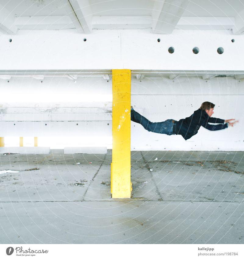 keep me hangin on Mensch maskulin Mann Erwachsene 1 sportlich Le Parkour Klettern springen hüpfen Schwerelosigkeit Fliege Superman Farbfoto mehrfarbig