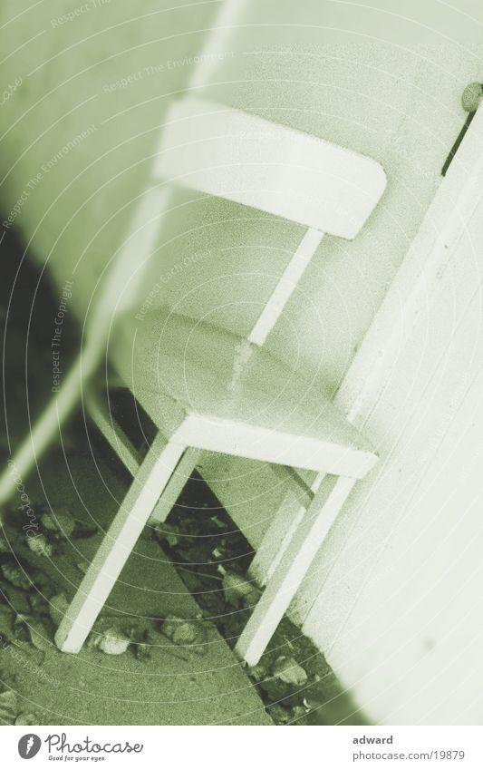 Stuhl weiß Winter Holz einzeln Dinge Sitzgelegenheit