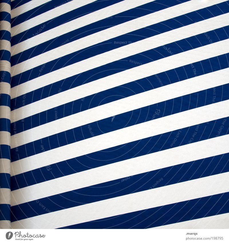 Markise weiß blau Ferien & Urlaub & Reisen Farbe Erholung Stil Linie Design Ausflug Perspektive Freizeit & Hobby Schutz Streifen Grafik u. Illustration positiv