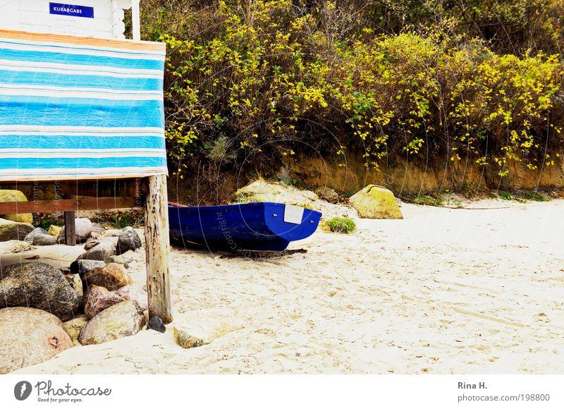 StrandStillLeben Natur blau grün Ferien & Urlaub & Reisen Meer Strand Freude Erholung Landschaft Küste Sand Stein Wasserfahrzeug Zufriedenheit Freizeit & Hobby warten