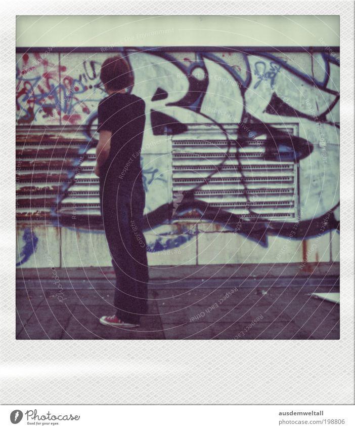 Virtual Painting Lehrer Kunst Gemälde Bühne Kultur Dach Freiheit Farbfoto Gedeckte Farben mehrfarbig Polaroid Tag Ganzkörperaufnahme Rückansicht Wegsehen Stadt