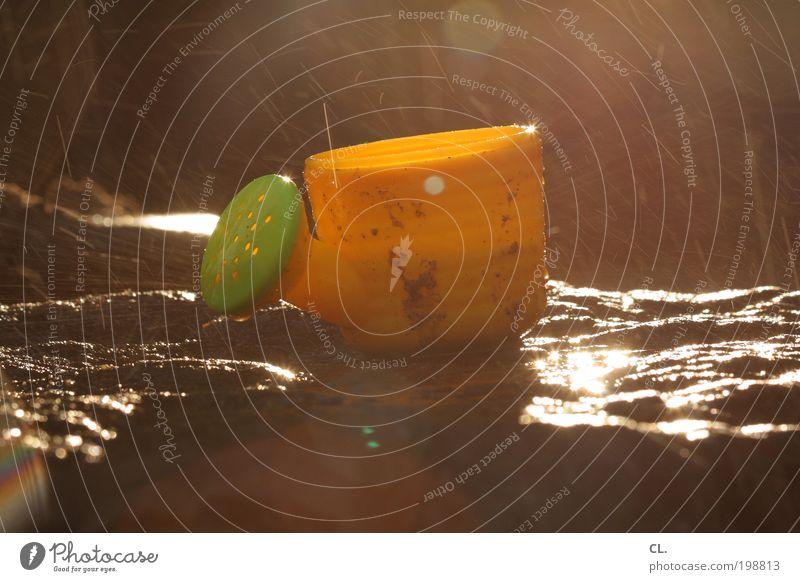 gießkännchen Wasser grün Ferien & Urlaub & Reisen Sonne Sommer Freude gelb Spielen klein Garten Stein Regen Kindheit nass Wassertropfen Fröhlichkeit