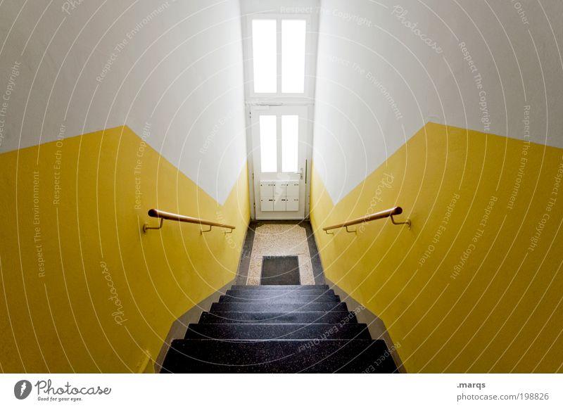 Haustür Lifestyle Design Häusliches Leben Wohnung Innenarchitektur Treppe Briefkasten Treppengeländer Eingangstür Architektur leuchten ästhetisch groß gelb