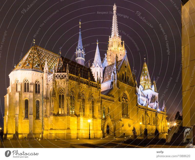 Fisherman's Bastion Ungarn Budapest bei Nacht Tourismus Stadt Architektur historisch Fischerbastei kirche ungarn Beleuchtung schloss Großstadt Donau reisen