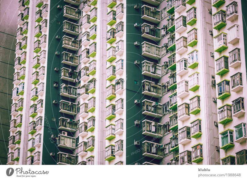 Große flache Schachtel in Hong Kong, China Leben Ferien & Urlaub & Reisen Tourismus Ausflug Wohnung Haus Kultur Landschaft Gebäude Architektur Fassade Straße
