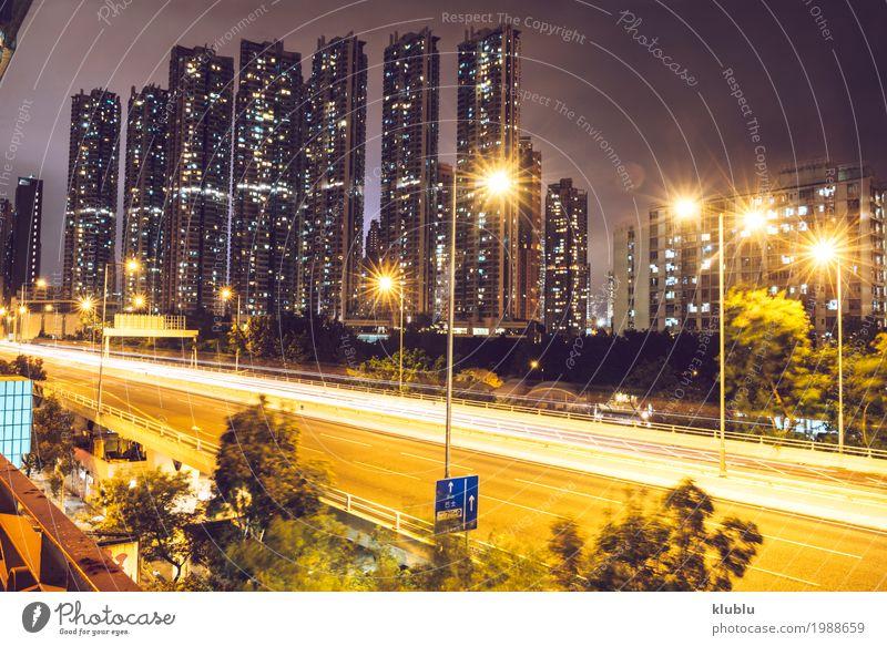 Ein Verkehr in der Stadt in der langen Belichtung, Hong Kong Leben Ferien & Urlaub & Reisen Tourismus Ausflug Landschaft Straße Fahrzeug PKW Bewegung modern