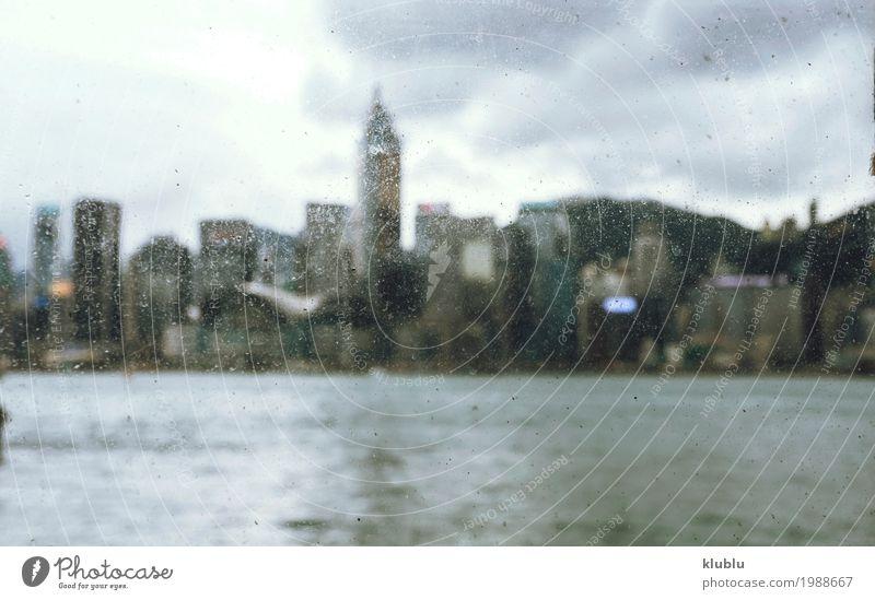 Blick in die Stadt durch das schmutzige Glas schön Ferien & Urlaub & Reisen Tourismus Sightseeing Landschaft Wolken Stadtzentrum Skyline Hochhaus Gebäude