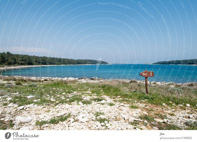 links rum! Himmel Natur Wasser Ferien & Urlaub & Reisen Meer Erholung Umwelt Landschaft Gras Küste Park Freizeit & Hobby Schilder & Markierungen wandern Ausflug