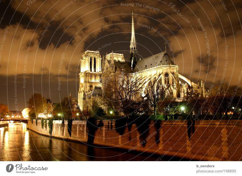 Notre Dame Paris Hauptstadt Kathedrale Sehenswürdigkeit Notre-Dame Kultur Kunst Religion & Glaube Himmel Frankreich Farbfoto Außenaufnahme Nacht