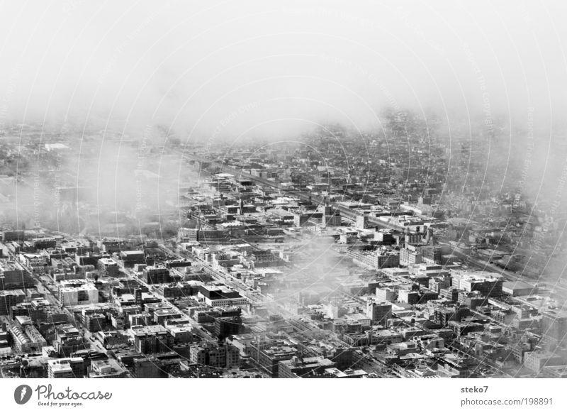 Vorstadt Idylle weiß Stadt schwarz Wolken grau trist Verkehrswege Luftaufnahme hässlich Schwarzweißfoto Ghetto Stadtrand Vogelperspektive Chicago