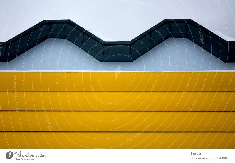 Fassadenschmuck blau Winter gelb Wand Mauer Metall Design Dekoration & Verzierung Symmetrie Stadtrand Strukturen & Formen
