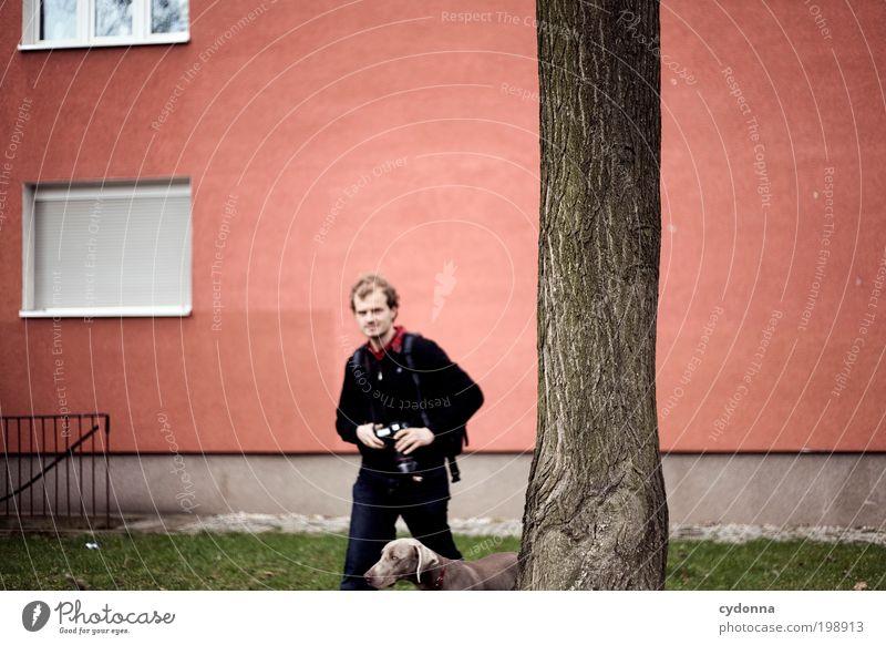 [HAL] Motivsuche Lifestyle Stil Leben Freizeit & Hobby Mensch Mann Erwachsene Umwelt Baum Wiese Stadt Architektur Mauer Wand Fassade Fenster Hund Bewegung