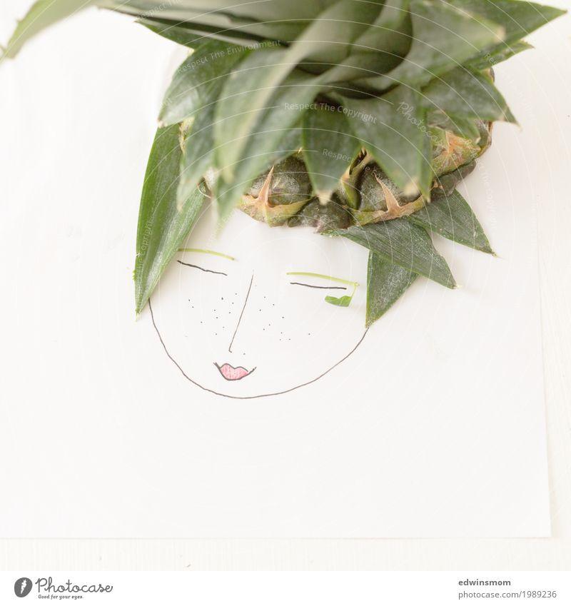 Mrs Pineapple Frucht Ananas Freizeit & Hobby Basteln feminin Papier Dekoration & Verzierung Lächeln zeichnen schlafen Freundlichkeit hell natürlich niedlich