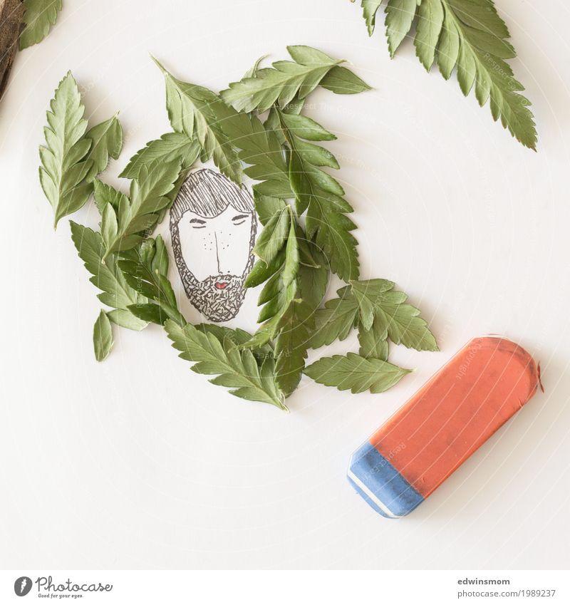 Into the wild Freizeit & Hobby zeichnen maskulin Mann Erwachsene Blatt Bart Vollbart Papier Radiergummi atmen schlafen träumen hell natürlich grün schwarz weiß