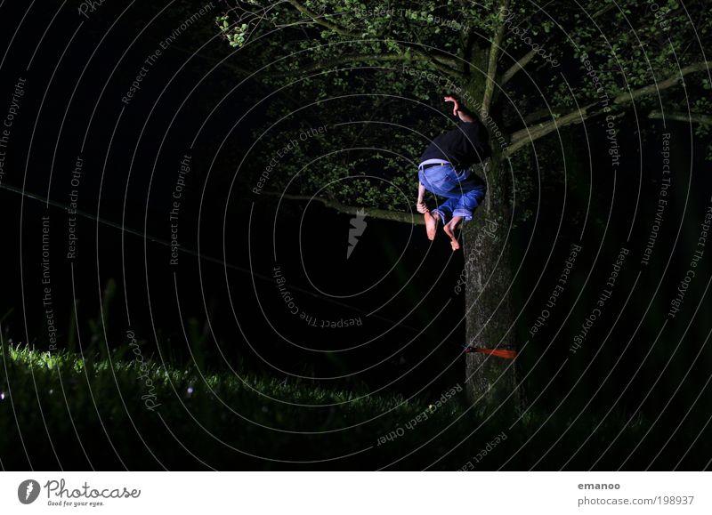 slackfun Lifestyle Freude Freizeit & Hobby Freiheit Klettern Bergsteigen Mensch maskulin Junger Mann Jugendliche 1 Natur Baum Gras springen hoch Coolness Kraft