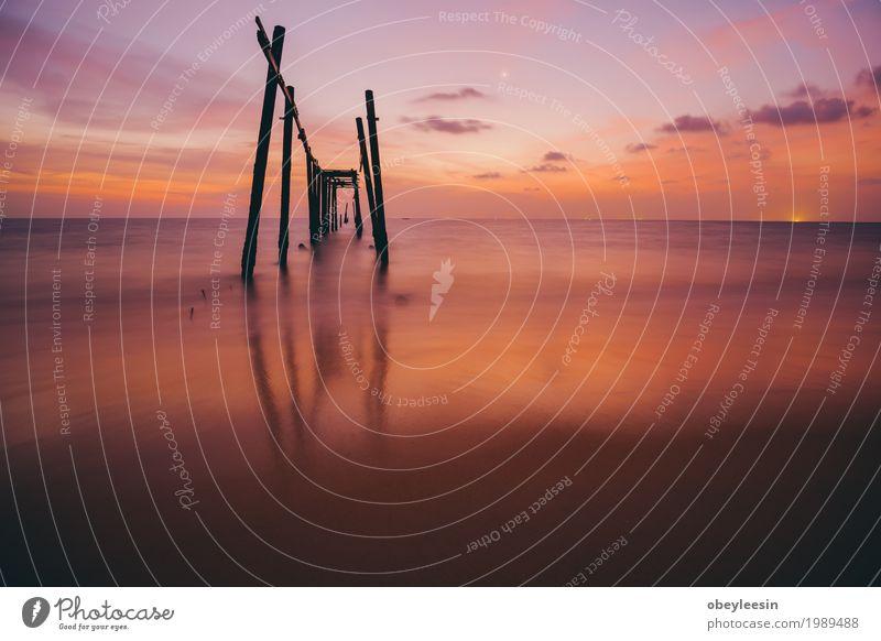 alte Brücke bei Sonnenuntergang Natur Landschaft Meer Freude Strand Lifestyle Wellen Angst Abenteuer Bucht