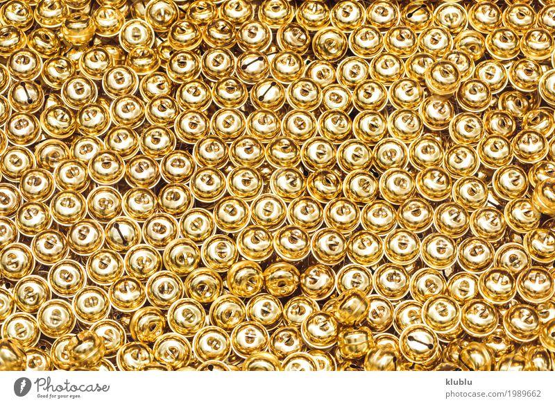 Glänzende goldene Kugeln Textur Design Dekoration & Verzierung Kunst Metall Ornament Klimpern Konsistenz Wand glänzend Glitter kreisen Hintergrund Oberfläche