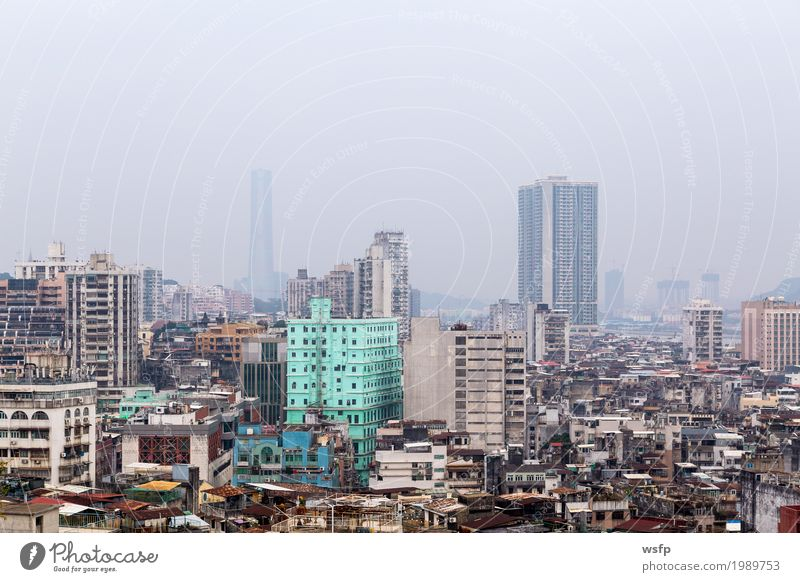 Macau Stadt Panorama bei Tag Haus Architektur türkis Macao China Großstadt sonderverwaltungszone Portugal Asien Farbfoto Außenaufnahme Aussicht Wohnhochhaus