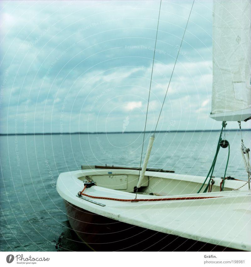 Still ruht das Meer Ausflug Ferne Wellen Wassersport Segeln Wolken Gewitterwolken schlechtes Wetter Küste Seeufer Steinhuder Meer Segelboot Schot Takelage Seil