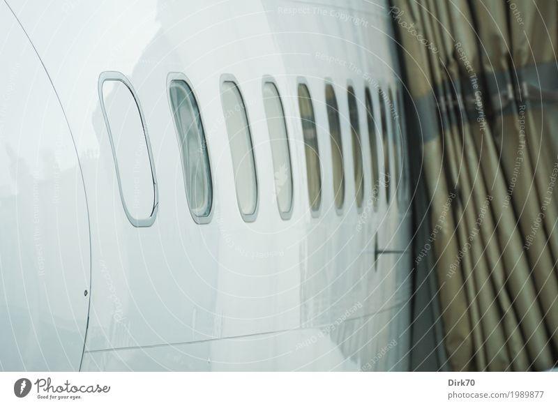 Ready for Boarding. Ferien & Urlaub & Reisen weiß kalt Flugzeugfenster Freiheit grau braun fliegen Verkehr Luftverkehr Technik & Technologie warten Ziel