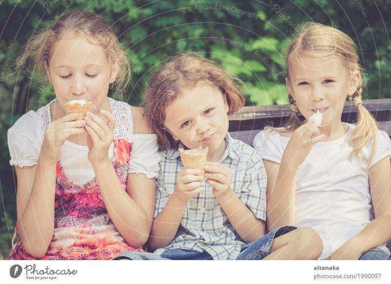 Drei glückliche Kinder, die im Park zur Tageszeit spielen. Mensch Frau Natur Ferien & Urlaub & Reisen Mann Sommer schön grün Freude Mädchen Gesicht Erwachsene