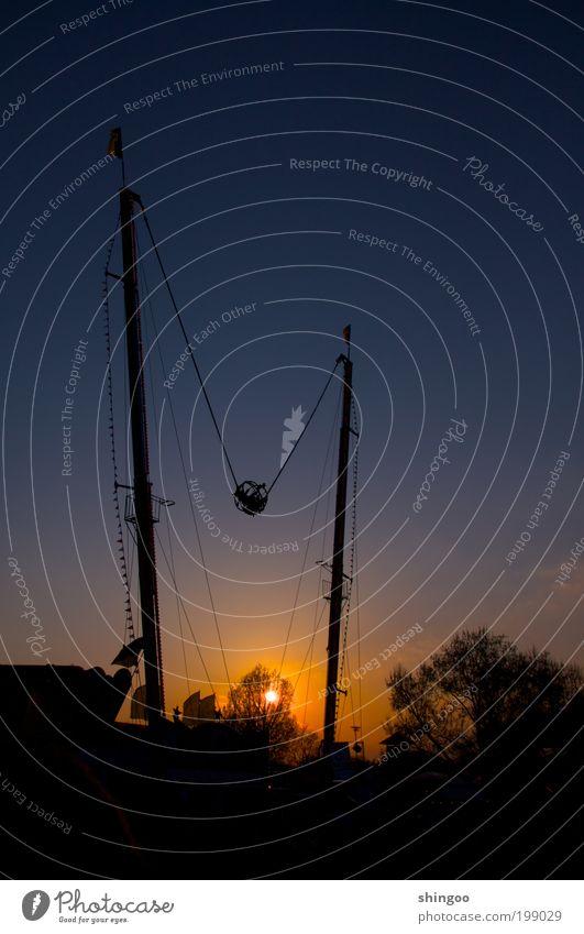 Sonnenkatapult blau Freude schwarz Feste & Feiern gold Angst Freizeit & Hobby fliegen hoch Geschwindigkeit bedrohlich schreien Todesangst Jahrmarkt hängen