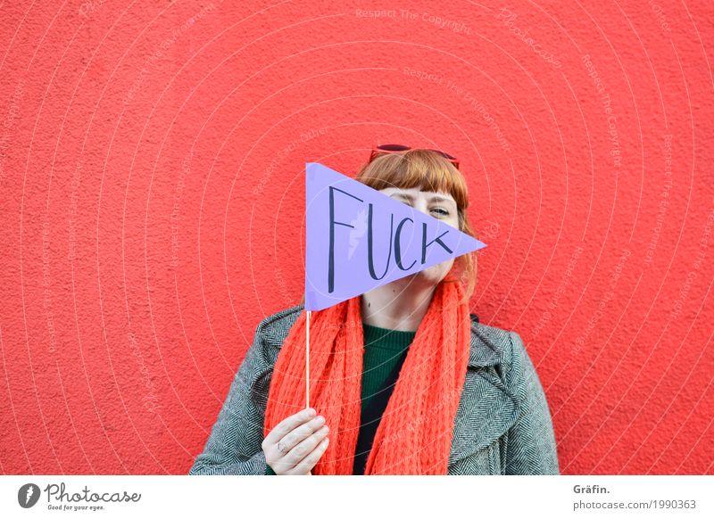 [HH17 Fähnchentour] fuck*** Rot Mensch Jugendliche Junge Frau rot Wand Graffiti lustig feminin Gebäude Mauer Fassade Schriftzeichen Kommunizieren