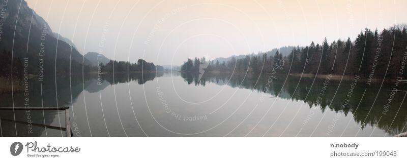 Reinthaler See Panorama - Sonnenaufgang Natur ruhig Ferne Berge u. Gebirge Frühling Landschaft Seeufer Panorama (Bildformat)
