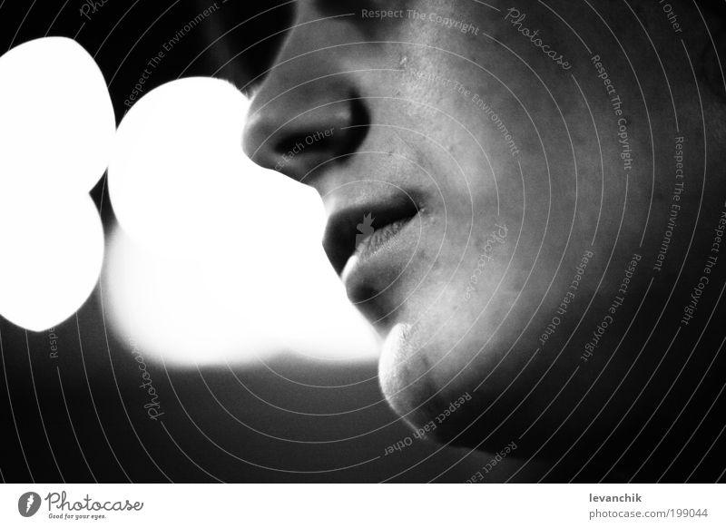 Atem schön Gesicht 18-30 Jahre Jugendliche Erwachsene Kunst grau Schwarzweißfoto Makroaufnahme Nacht