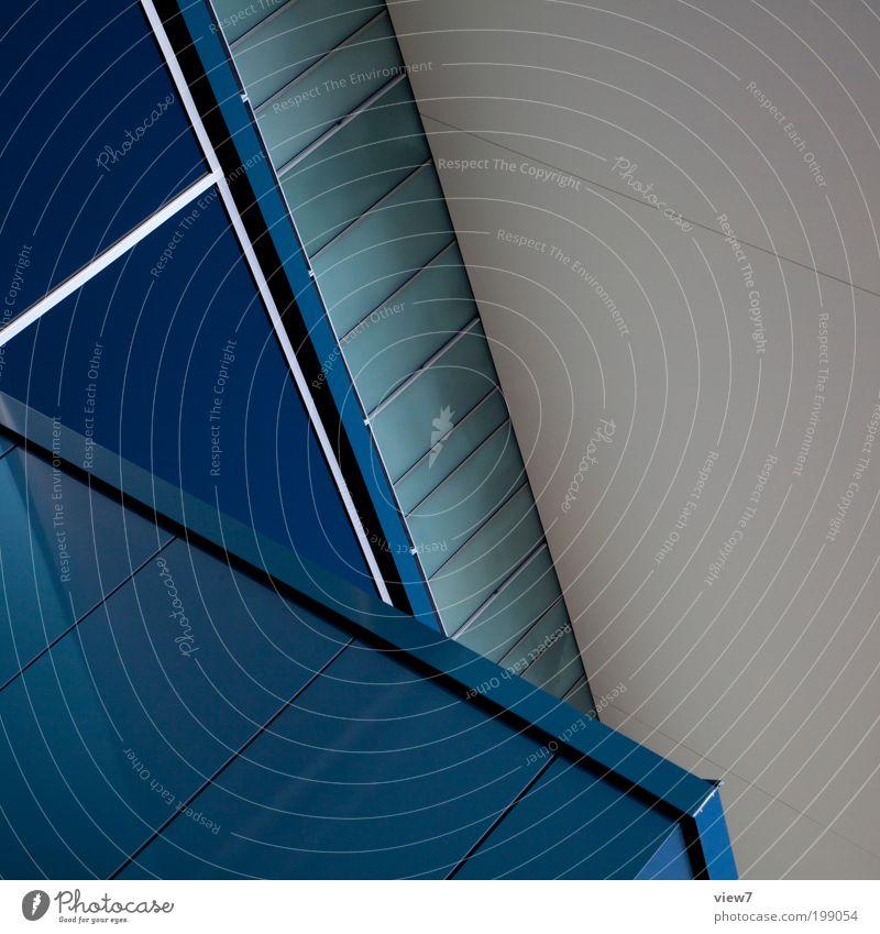Kongresshalle blau Haus Ferne kalt Wand Fenster oben Stein Mauer Metall Linie Glas Fassade Ordnung Hochhaus Design