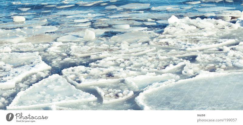 Eisschmelze Umwelt Natur Landschaft Urelemente Winter Klima Klimawandel Schönes Wetter Frost Schnee Küste Ostsee Meer außergewöhnlich eckig fantastisch kalt
