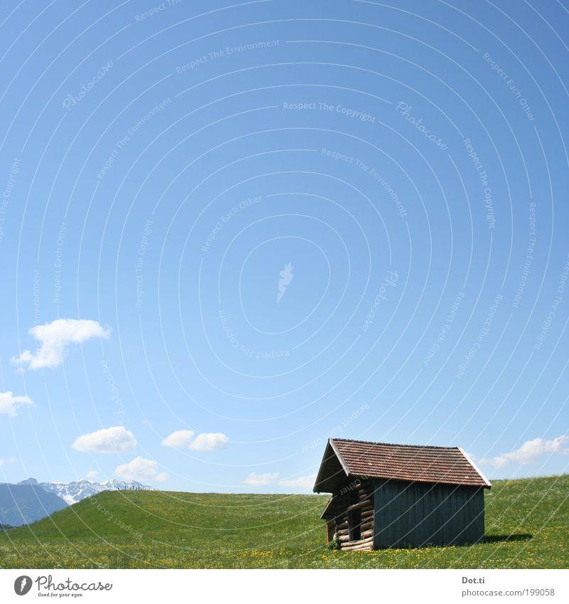 Stadl Himmel Natur Ferien & Urlaub & Reisen blau grün schön Sommer Einsamkeit Landschaft ruhig Wolken Berge u. Gebirge Wiese Gras Horizont Tourismus
