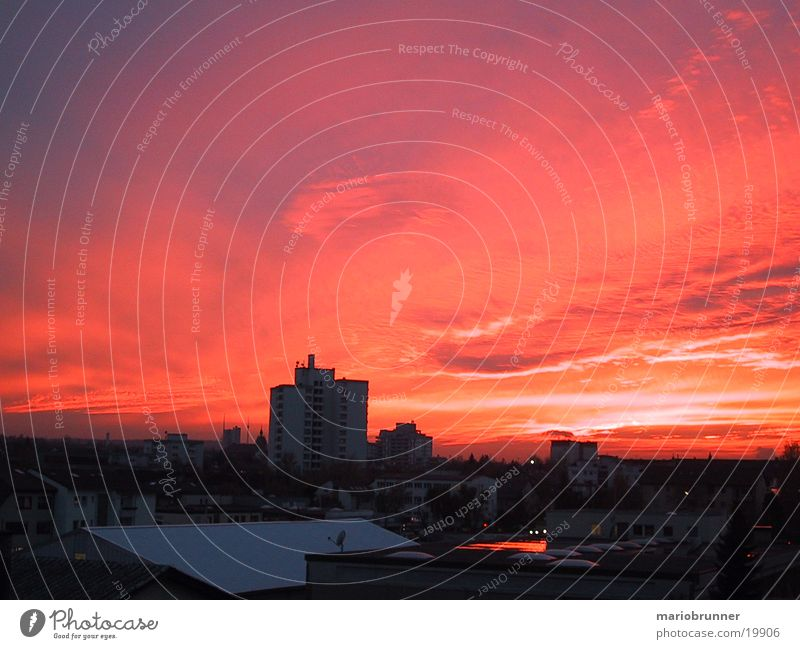 fb-sun_01 Himmel Sonne rot Wolken Brand Abenddämmerung