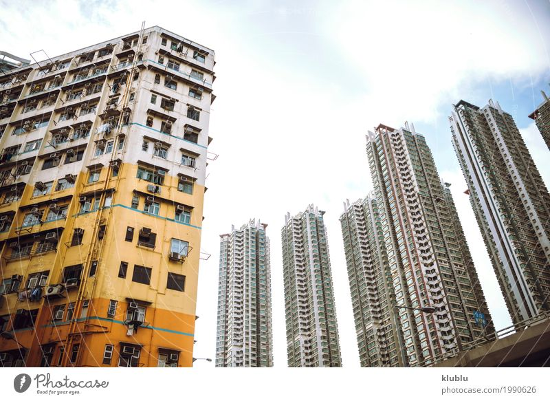 Große Flachkastengebäude in Hong Kong, China Leben Ferien & Urlaub & Reisen Tourismus Ausflug Wohnung Haus Kultur Landschaft Gebäude Architektur Fassade Straße