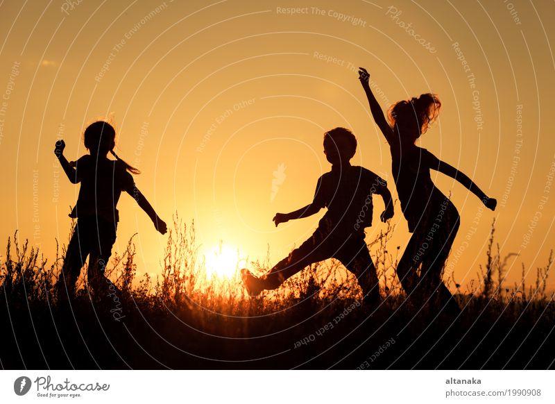 Glückliche Kinder, die im Park spielen Frau Himmel Natur Ferien & Urlaub & Reisen Sommer Sonne Hand Freude Mädchen Erwachsene Lifestyle Liebe Sport Gras Junge