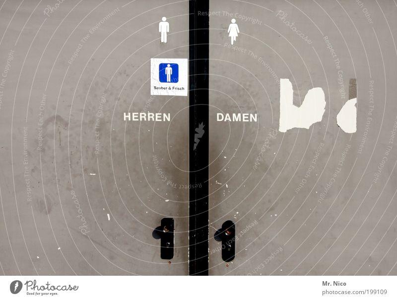sauber & frisch Tür Zeichen Schriftzeichen grau Toilette Herrentoilette Damentoilette Sanitäranlagen bedürfnisanstalt rechts links Menschenleer Metalltür