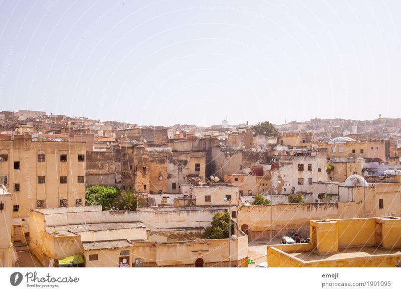 Fès Himmel Sommer Stadt Haus Wärme Wand Mauer Schönes Wetter Armut Wolkenloser Himmel Marokko Fes