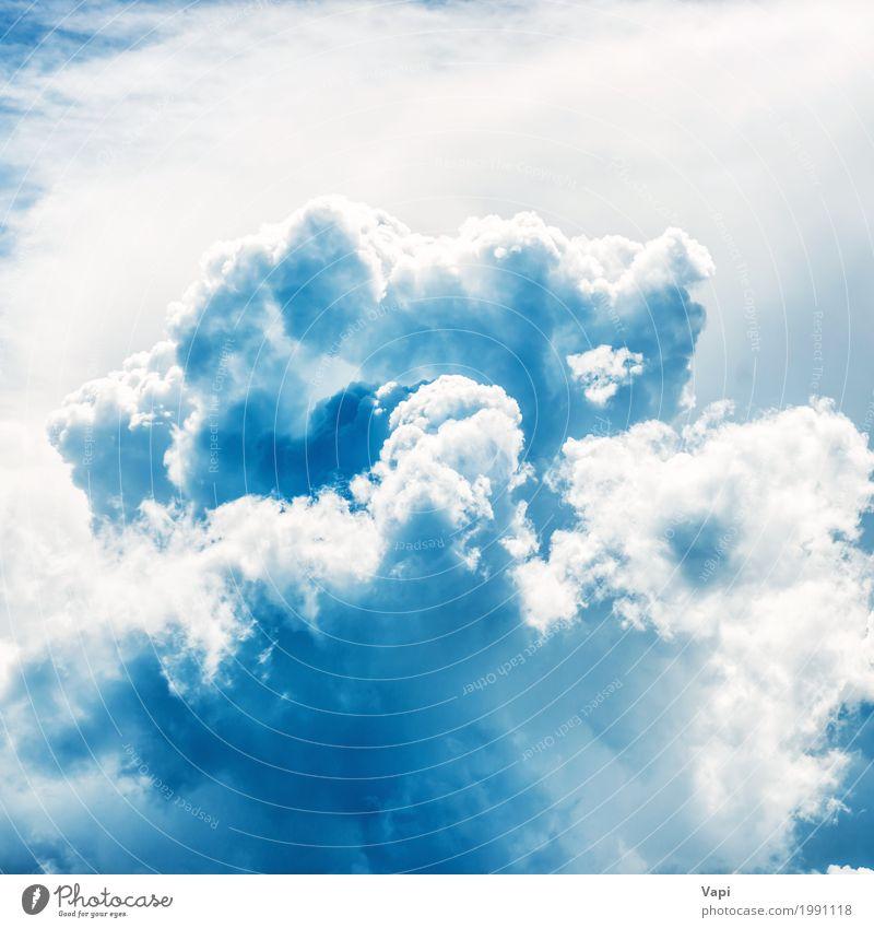 Weiße flauschige Wolken am blauen Himmel Ferien & Urlaub & Reisen Freiheit Sommer Tapete Umwelt Natur Landschaft Gewitterwolken Klima Klimawandel Wetter