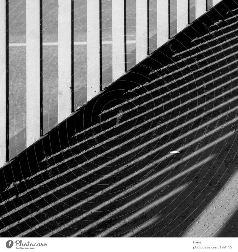 Auf Streife Sonne Straße Wege & Pfade gehen Straßenverkehr Beton Brücke Asphalt Grafik u. Illustration diagonal Geländer graphisch ernst vertikal Brückengeländer horizontal