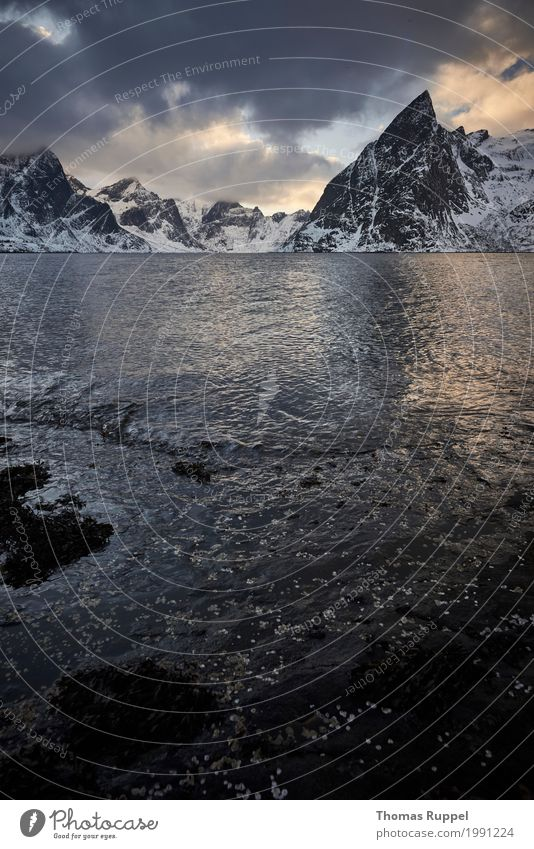 Lofoten Himmel Natur Ferien & Urlaub & Reisen blau Wasser weiß Landschaft Meer Wolken Ferne Winter Berge u. Gebirge Küste Tourismus Freiheit grau