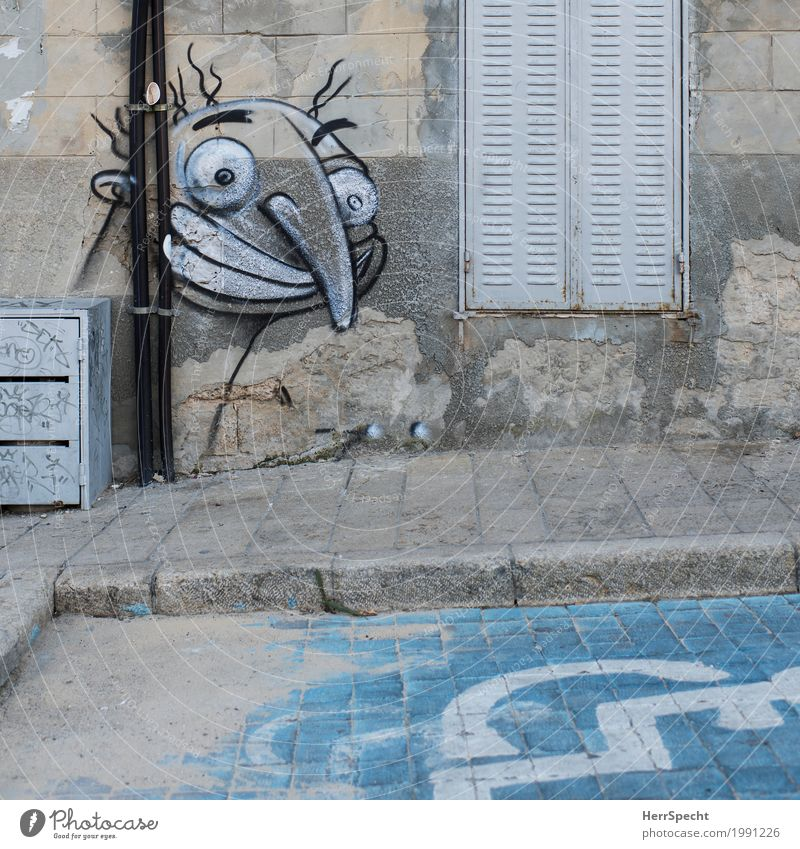 Was guckst'n so? Stadt Haus Fenster Gesicht Graffiti lustig Gebäude Kunst grau Fassade Nase Zeichen Coolness Bauwerk Altstadt trashig