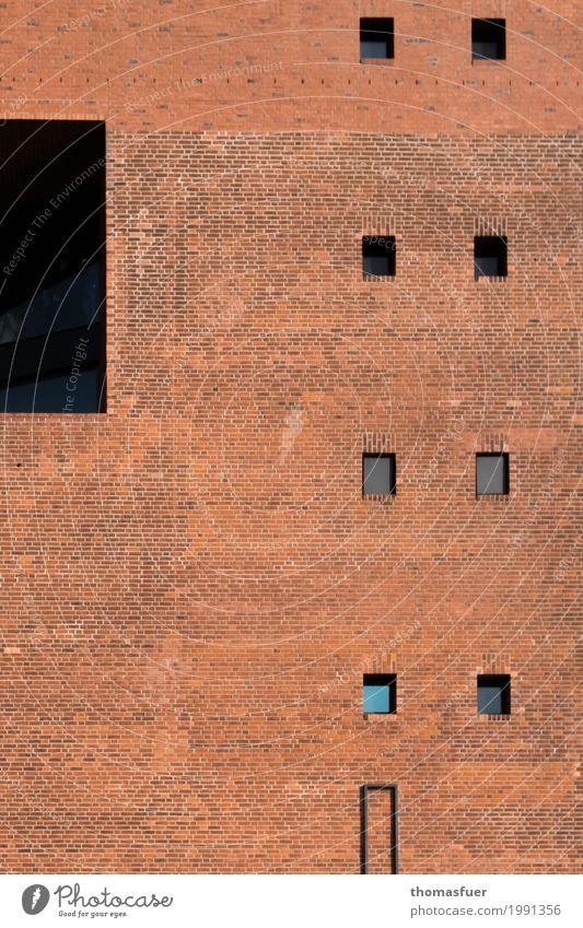 Formübung 1 Stadt Haus Fenster schwarz Architektur Wand Mauer Tourismus orange Fassade Zufriedenheit Hochhaus Ordnung Europa Hamburg Bauwerk