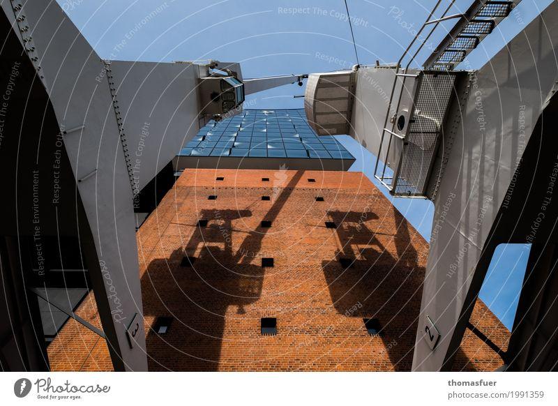 Kampfläufer in HH blau Stadt Architektur Wand Gebäude Mauer Kunst außergewöhnlich grau Stein Tourismus orange Fassade Metall Kultur hoch
