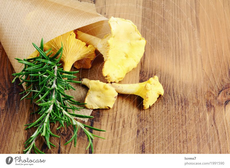 paper bag with golden chanterelle and rosemary spice Gesunde Ernährung frisch Gesundheit braun gelb grün chantarelle food healthy natural fresh mushrooms