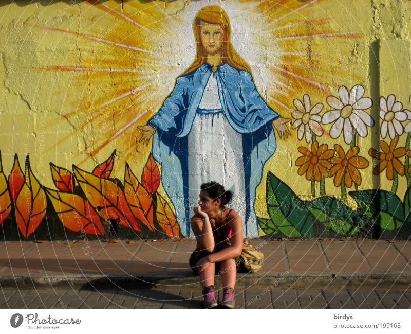 Where is the way to paradise ?- behind me? Jugendliche schön Sommer Junge Frau 18-30 Jahre Erwachsene Wand Leben Graffiti feminin Mauer Religion & Glaube