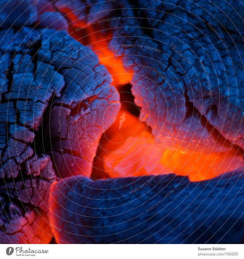 Ich bin so heiß wie ein Vulkan! rot Sommer grau Wärme Erde Feuer bedrohlich Grillen brennen Urelemente Flamme Farbe Makroaufnahme Brandasche