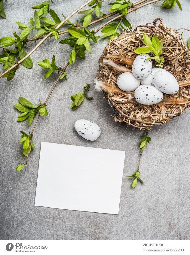 Ostereier im Nest mit Frühlingszweigen und Karte Stil Design Dekoration & Verzierung Feste & Feiern Ostern Natur Sträucher Zeichen Tradition Symbole & Metaphern