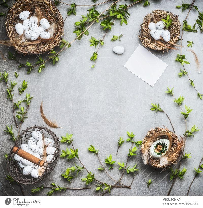 Ostern Hintergrund Rahmen Süßwaren Stil Design Dekoration & Verzierung Feste & Feiern Blumenstrauß Zeichen Ornament grün weiß Tradition Hintergrundbild Nest
